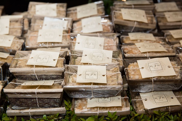 Mini banana bread wedding favors with personalized signs and twine