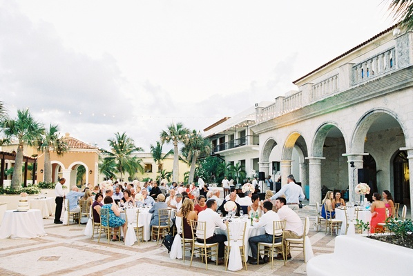 tropical wedding, buffet-style dinner