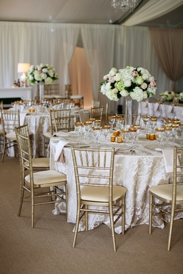 champagne and white reception décor