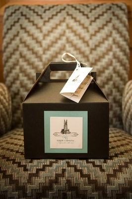 brown box for favors with blue and white label