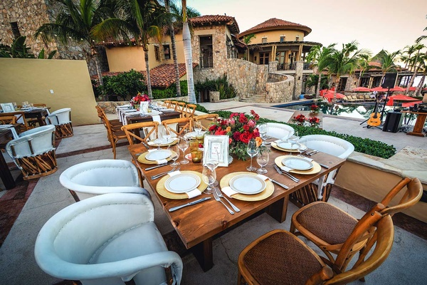 tablescapes that combine rustic and tropical concepts at a beach wedding in cabo san lucas mexico