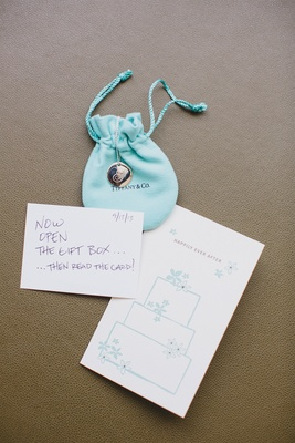 Tiffany & Co. monogram necklace with wedding card