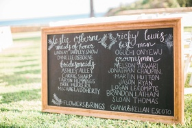 black chalkboard at ceremony with white calligraphy chalk all bridal party names