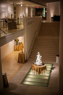 Cake on display at modern art museum wedding