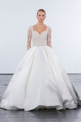 Dennis Basso for Kleinfeld 2018 collection wedding dress long illusion sleeve satin silk ball gown
