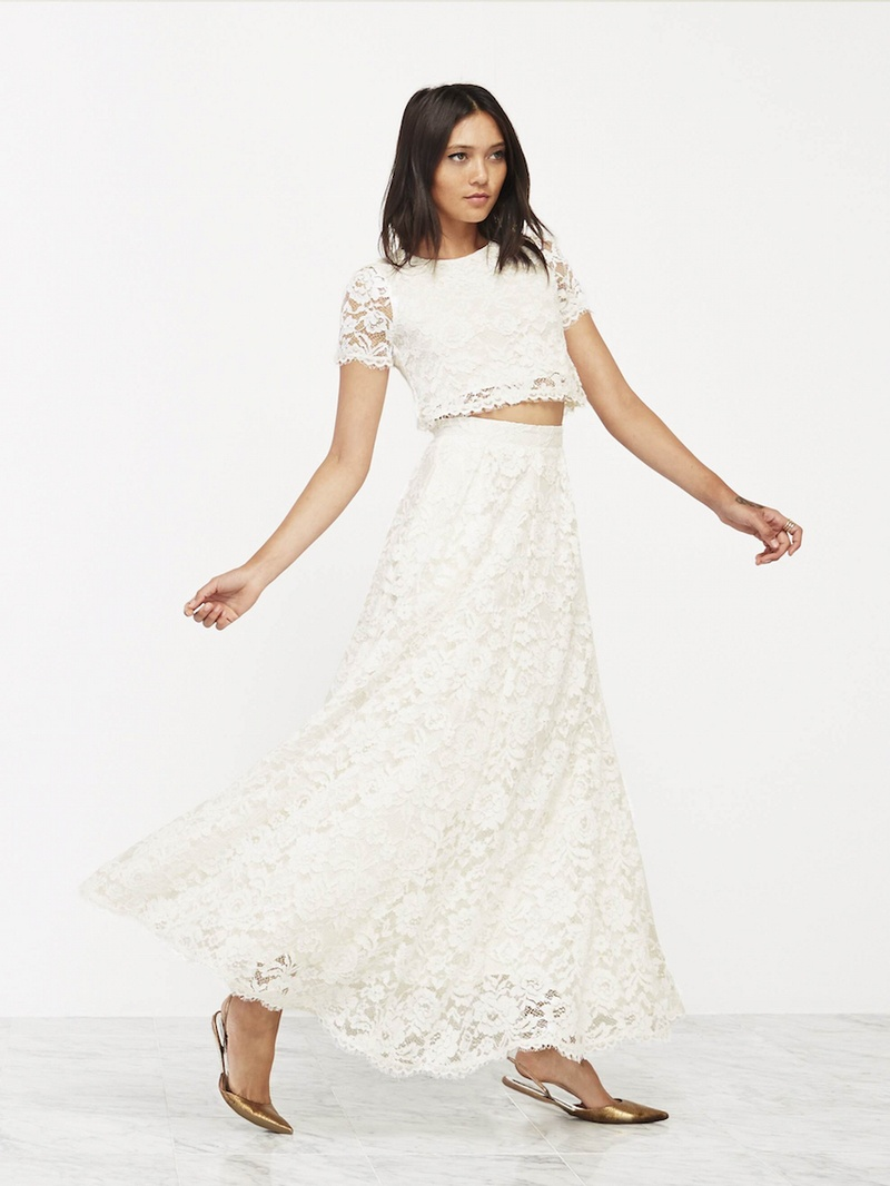 Wedding dresses photos lace wedding dress with crop top for Wedding dress skirt and top