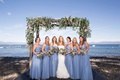 bridesmaids blue loose baby blue sweetheart neckline lake tahoe vines on arch matching bouquets