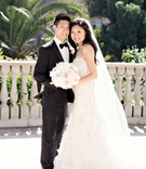 bride groom posing classic wedding attire black white asian couple bel-air bay club california