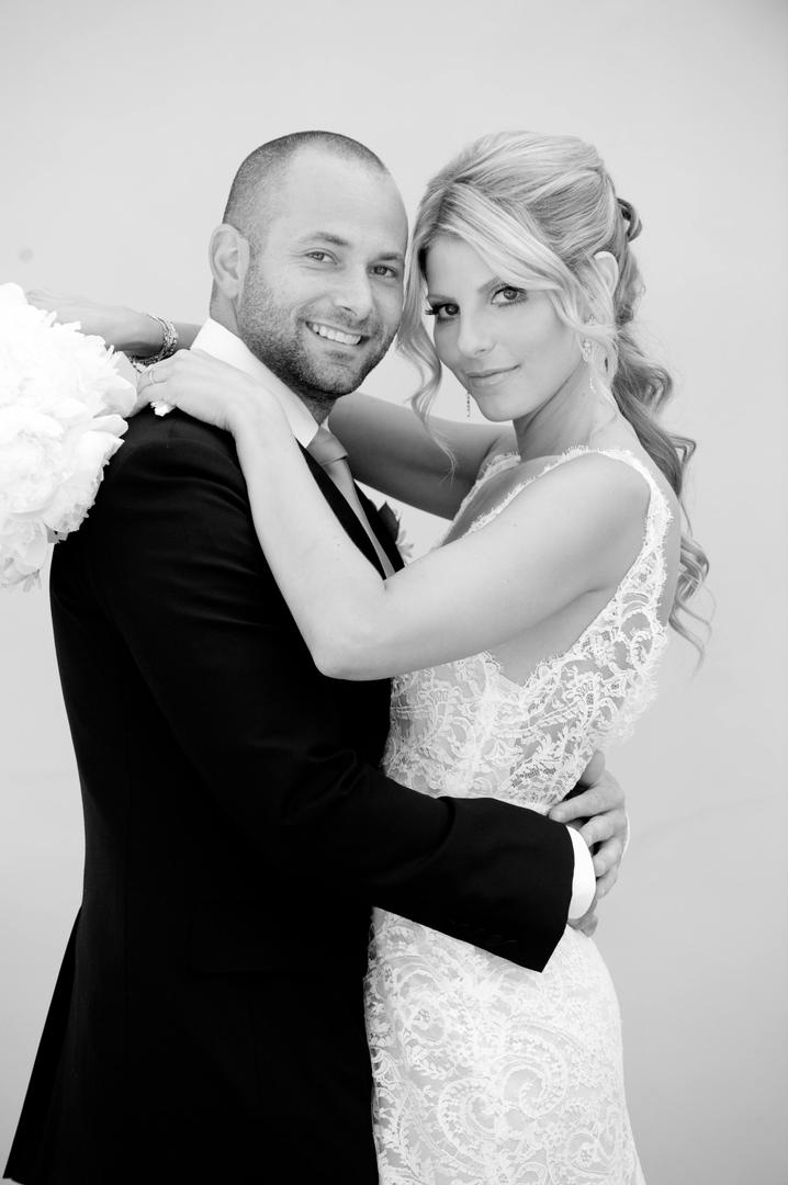 Black and white wedding portrait of couple