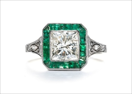 """""""Raleigh"""" ring in platinum featuring a 2.01ct rectangular modified brilliant-cut diamond with calibe"""