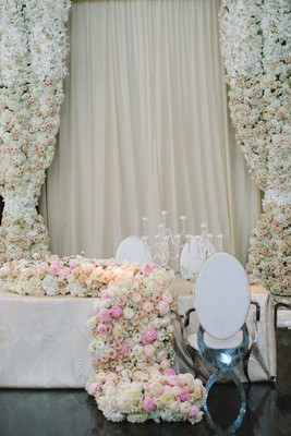 floral curtains and runner hydrangea, rose, peony, ranunculus white pink modern chair