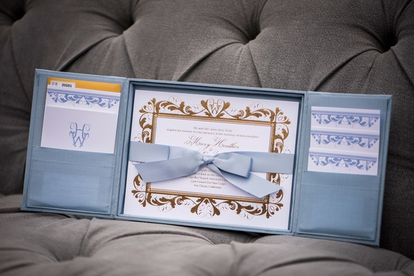 RedBliss Design light blue invitation box with pastel bow gold details and pockets