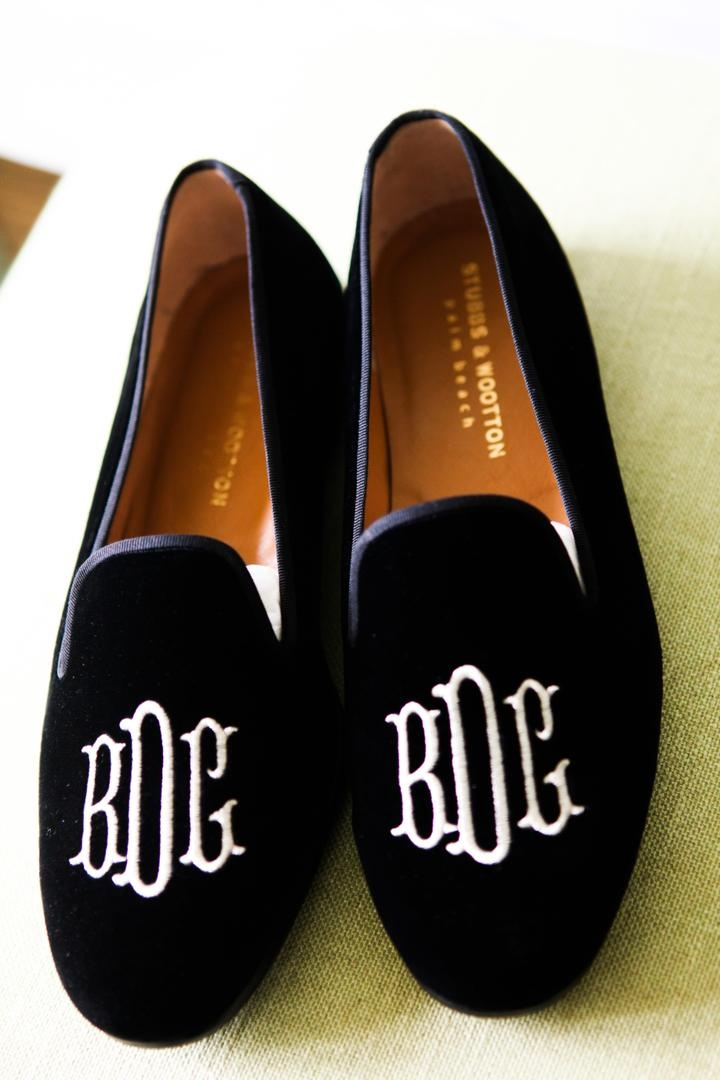 black velvet slippers with couple's monogram