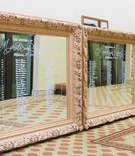 Seating chart three oversized large mirrors ornate gold white calligraphy on mirror frame