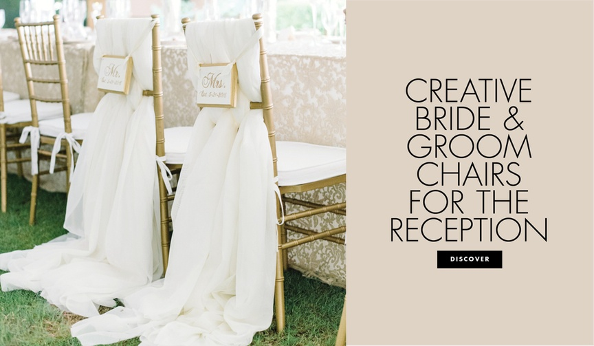 personalized custom bride groom chairs wedding reception designs signage fabrics florals touches