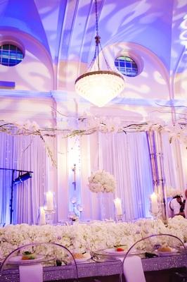 Ballroom reception decorations and lighting