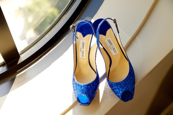 Jimmy Choo blue glitter peep-toe bridal shoes