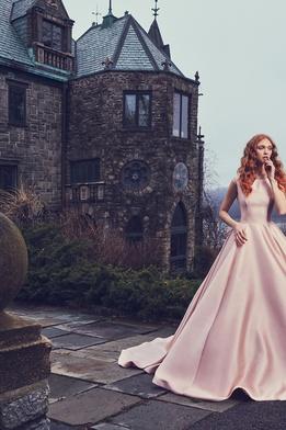 Sareh Nouri Spring 2018 bridal collection Brooklyn wedding pink ball gown bataeu neckline