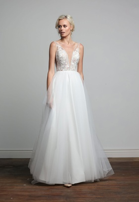 Joy Collection Barbara Kavchok Ivy wedding dress tulle v neckline a line gown