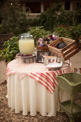Shabby chic table with yamakas and lemonade