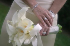 Calla lily bouquet with silver and platinum jewelry