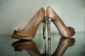 Miu Miu nude satin heels with crystal heel and toe