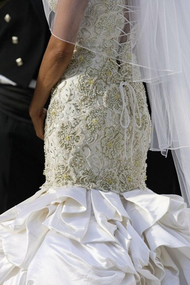 Wedding gown with corset back and pearls and Swarovski crystals