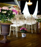 pink hydrangeas planted in clay pot