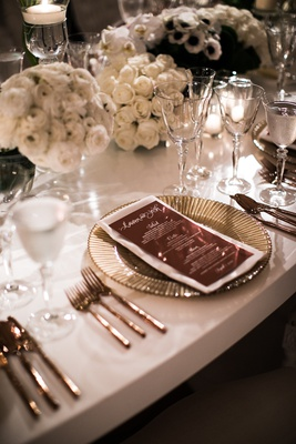 Wedding reception with copper wedding menu gold plate white rose ranunculus centerpieces white table