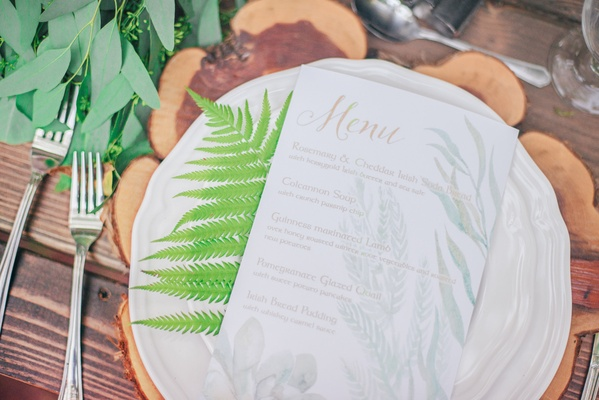 rustic table setting celtic dinner menu gold green white wood tree stump wedding