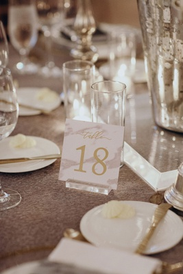 Suzanna Villarreal and Alex Wood LA Dodgers wedding table number marble design on lucite acrylic