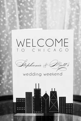 Welcome to Chicago for Stephanie and Matt's wedding weekend itinerary with black skyline design