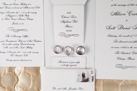 Chicago wedding classic wedding invitation idea silver platinum white gold wedding rings stamp