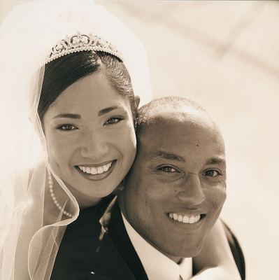 Sepia toned photo of bride and groom