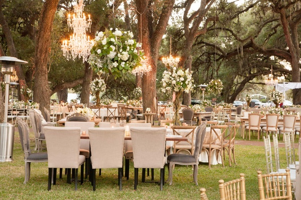 Glamorous outdoor wedding with rustic amp rose gold details in wedding reception on grass lawn among trees in texas planned by ann whittington rustic chic junglespirit Image collections