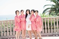 bride bridesmaids pink robes ocean southern california wedding bel-air bay club balcony girls