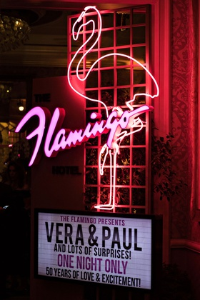 wedding anniversary party vow renewal marquee sign flamingo neon sign