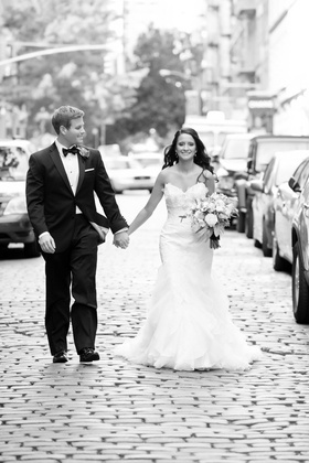 Bride and Groom Romantic portraits on cobblestone streets of Soho NY