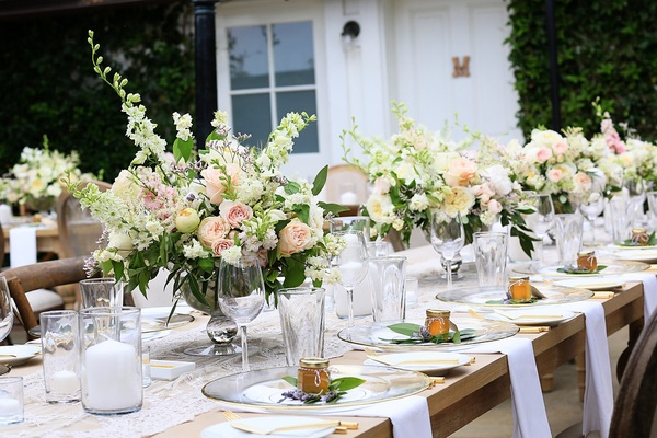 White fluffy peonies, pink blushing bride, garden roses, sweet pea, white spirea, pieris