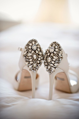 White Badgley Mischka wedding day pumps bridal heels ankle strap crystal rhinestones