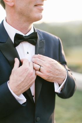 men's wedding ring, rose gold border black tungsten