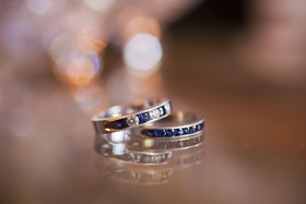 Wedding bands with blue stones and diamonds