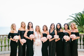 bride in fitted ines di santo gown, bridesmaids in black badgley mischka dresses, mismatched