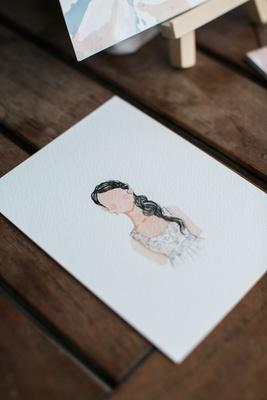 small watercolor portrait of bride at bridal shower, watercolor portrait bridal shower activity