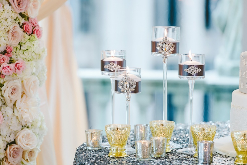 Crystal candle votives and tall crystal candle holders with jewels