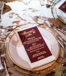 wedding reception menu burgundy menu card with gold foil lettering salad halibut and wedding cake