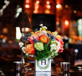 Bold Floral in Monogram Vase