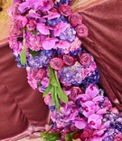 purple hydrangeas and fuchsia orchids, mauve roses, floral runner