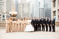 bridesmaids in metallic adrianne papelle, bride in monique lhuillier ball gown, groom in hugo boss