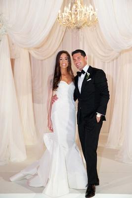 Bride in Oscar de la Renta strapless wedding dress with Chad Carroll